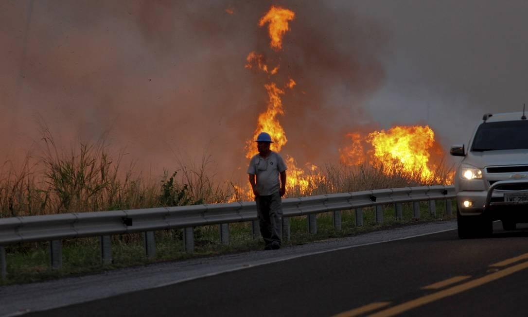Desde o último domingo (27), o bioma voltou a sofrer mais intensamente com o fogo Foto: Chico Ribeiro / Governo do Estado do MS