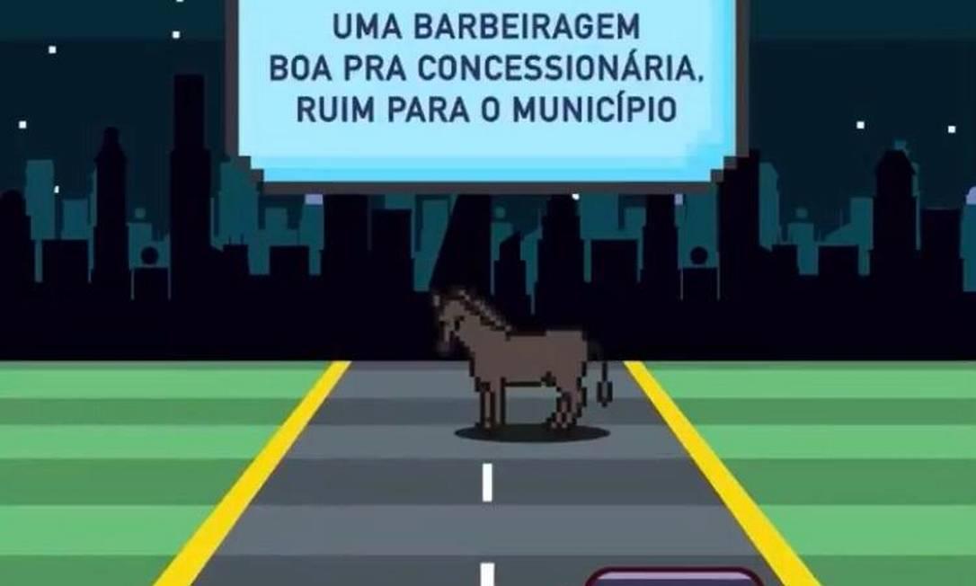Vídeo foi feito em formato semelhante ao de um jogo de video-game da década de 1990 Foto: Prefeitura do Rio / Reprodução