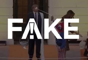 É #FAKE vídeo que mostra crianças jogando espuma no rosto de Trump durante o Halloween Foto: Reprodução