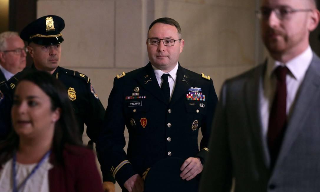 Alexander Vindman, durante seu depoimento à Câmara dos EUA Foto: ALEX WONG / AFP / 29-10-2019