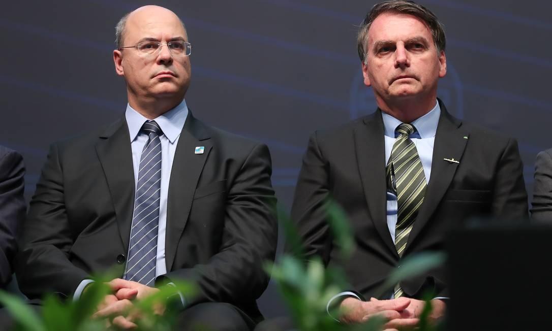 O presidente Jair Bolsonaro e o governador Wilson Witzel em evento no início de outubro Foto: Marcos Corrêa / Presidência da República