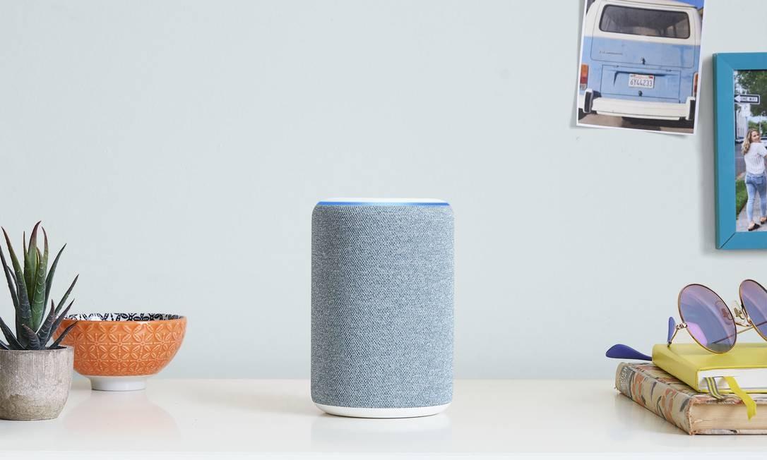 O alto-falante inteligente Echo aciona a Alexa quando reconhece de ativação Foto: Divulgação