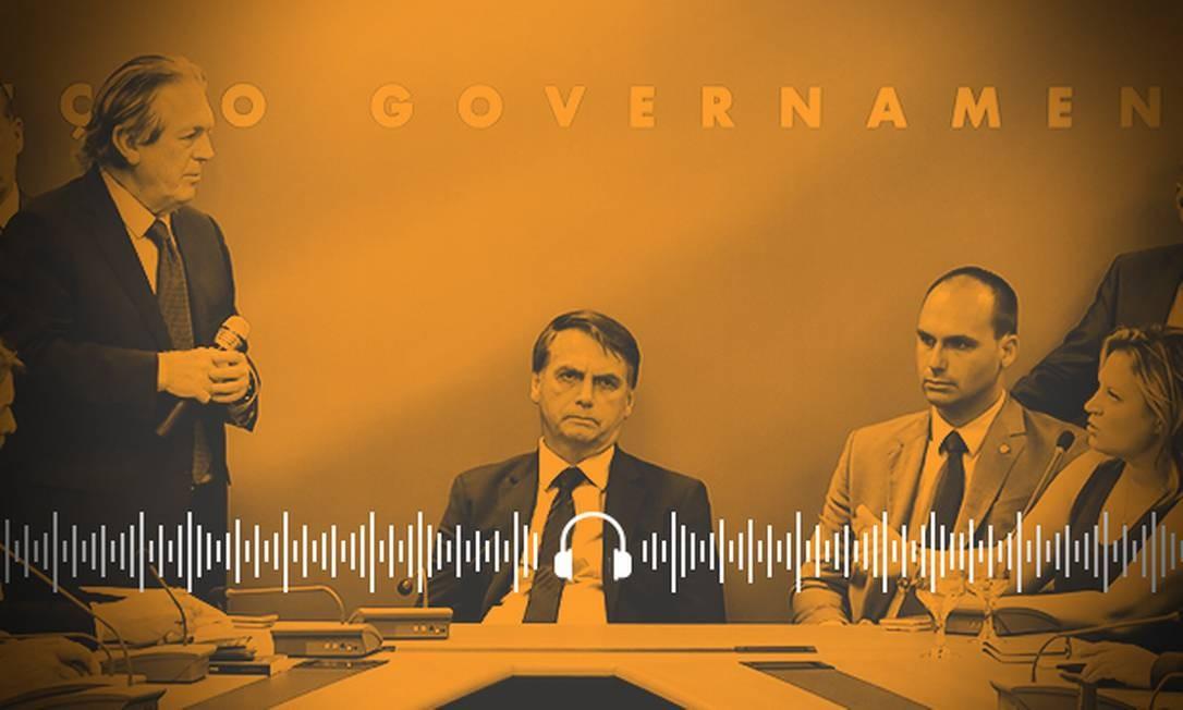 Bolsonaro, Bivar e Eduardo, antes da ruptura dentro do PSL Foto: Arte