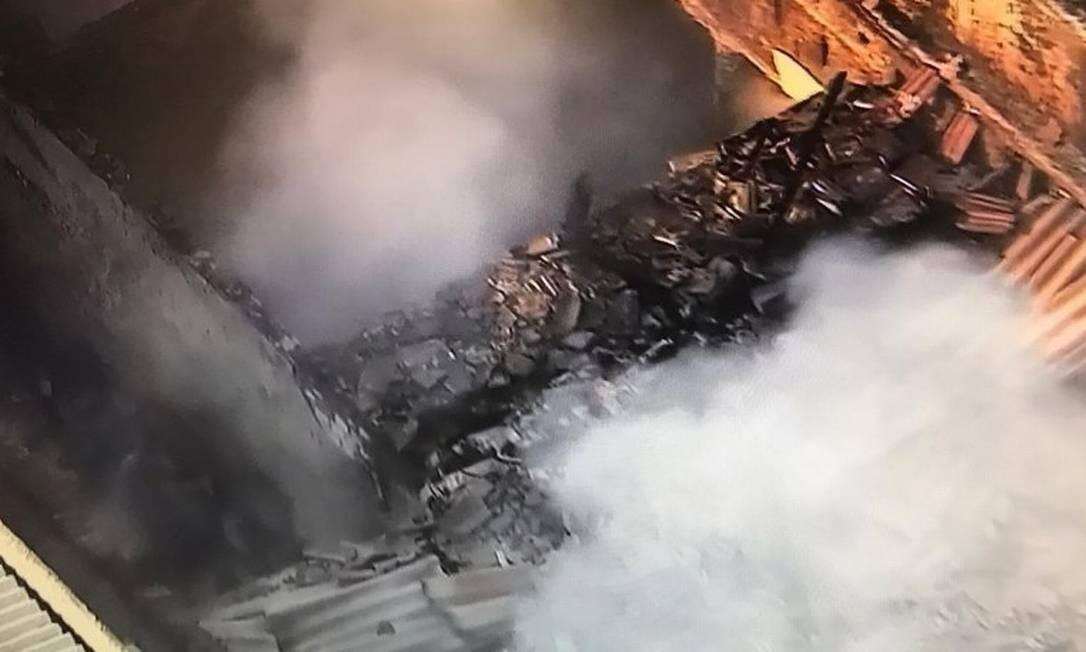 O local do incêndio Foto: TV Globo/ Reprodução