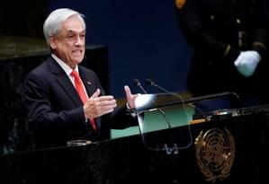 Presidente chileno, Sebastián Piñera, durante discurso na Assembleia Geral da ONU Foto: Carlo Allegri / REUTERS / 24-09-2019