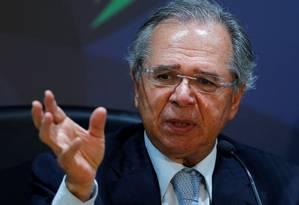 O ministro da Economia, Paulo Guedes, explica as medidas. Foto: ADRIANO MACHADO / REUTERS