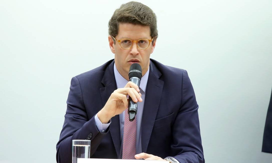 O ministro do Meio Ambiente, Ricardo Salles, em audiência pública na Câmara Foto: Luis Macedo/Câmara dos Deputados