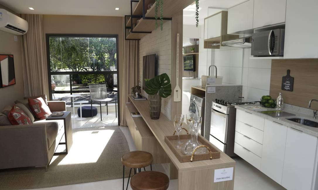Apartamento decorado do condomínio Park View Comfort Homes que a Avanço ergue no local Foto: Marcos Ramos / Agência O Globo