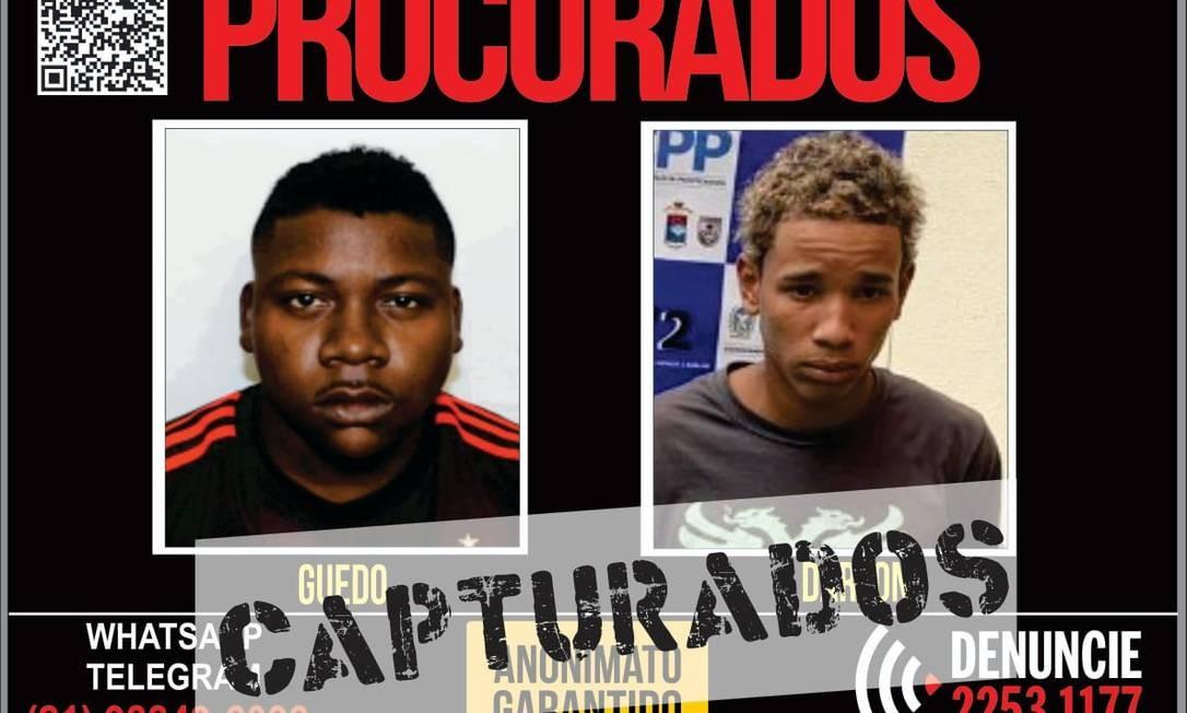 Dois homens foram presos por roubarem carros no Grande Méier Foto: Divulgação/Disque-Denúncia