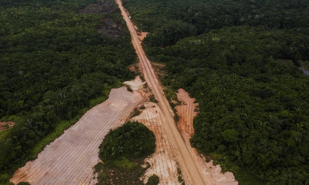 Desmatamento margeia a estrada BR-319, que liga Porto Velho a Manaus. Foto: Gabriel Monteiro / Agência O Globo