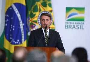 O presidente Jair Bolsonaro durante evento de comemoração de 300 dias do governo Foto: Sergio Lima / AFP