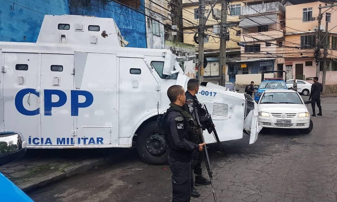 Agentes da CPP reforçam o policiamento no entorno do Morro do Borel Foto: Polícia Militar / Divulgação