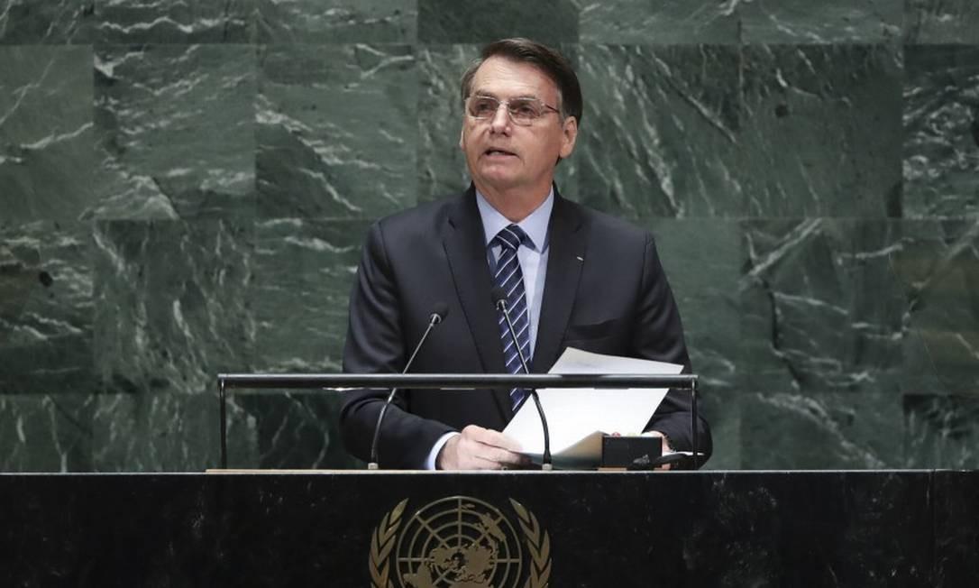 Presidente Jair Bolsonaro, durante discurso na Assembleia Geral da ONU Foto: Drew Angerer / AFP