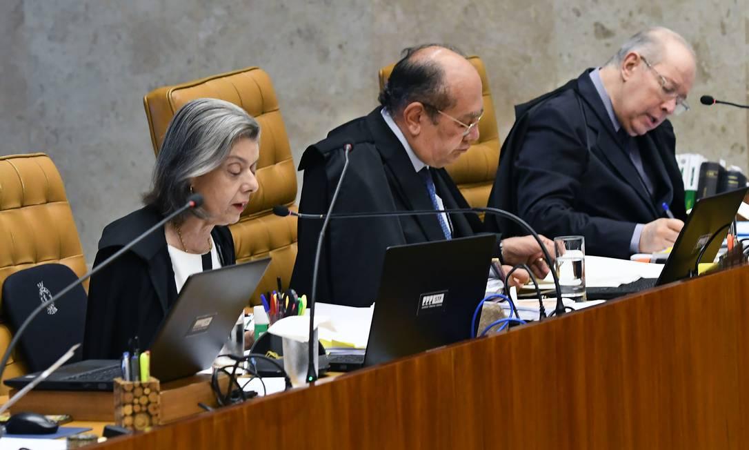 Ministros Cármen Lúcia, Gilmar Mendes e Celso de Mello no julgamento sobre prisão em segunda instância Foto: CARLOS ALVES MOURA / Divulgação STF