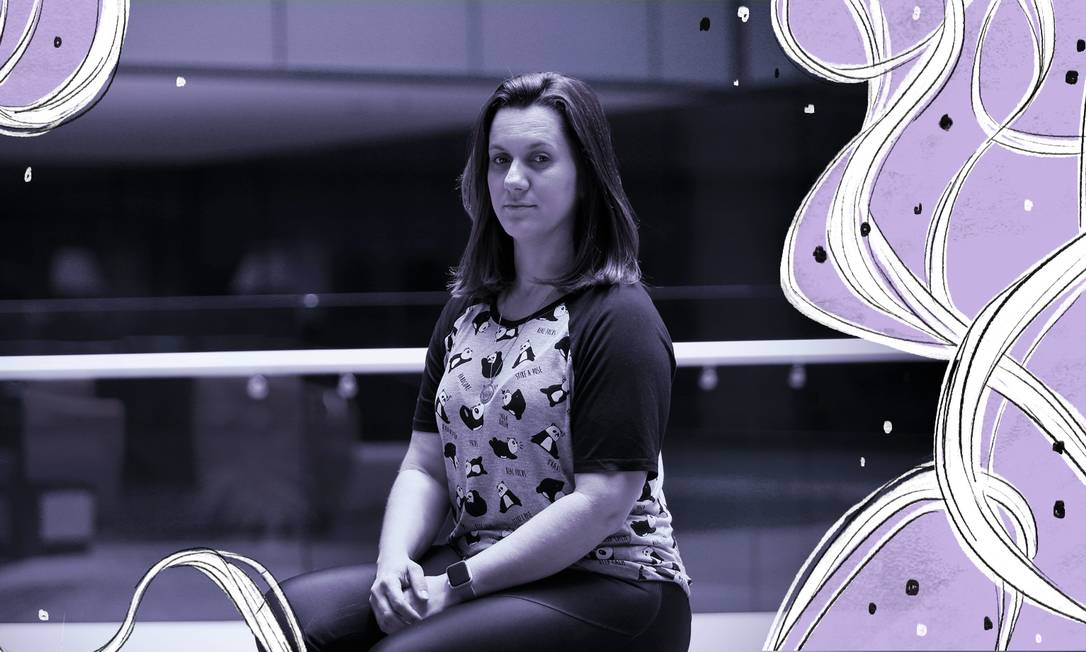 Nátali Araújo, de 34 anos, é inspiração para a criação da plataforma que conecta empresas e mulheres que passaram pelo câncer de mama Foto: Arte sobre foto de Marcio Alves