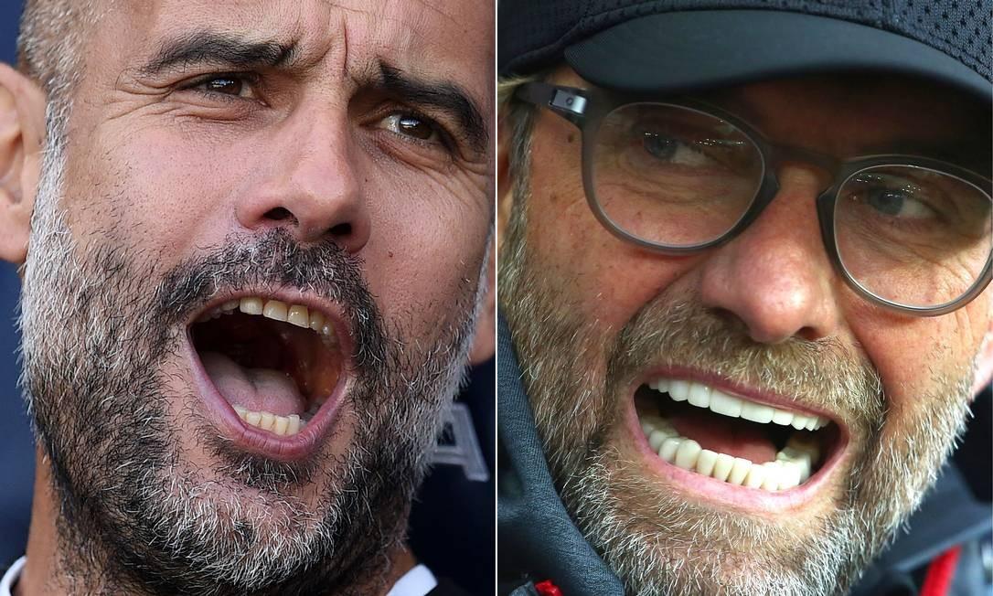 Técnicos de City e Liverpool Foto: AFP