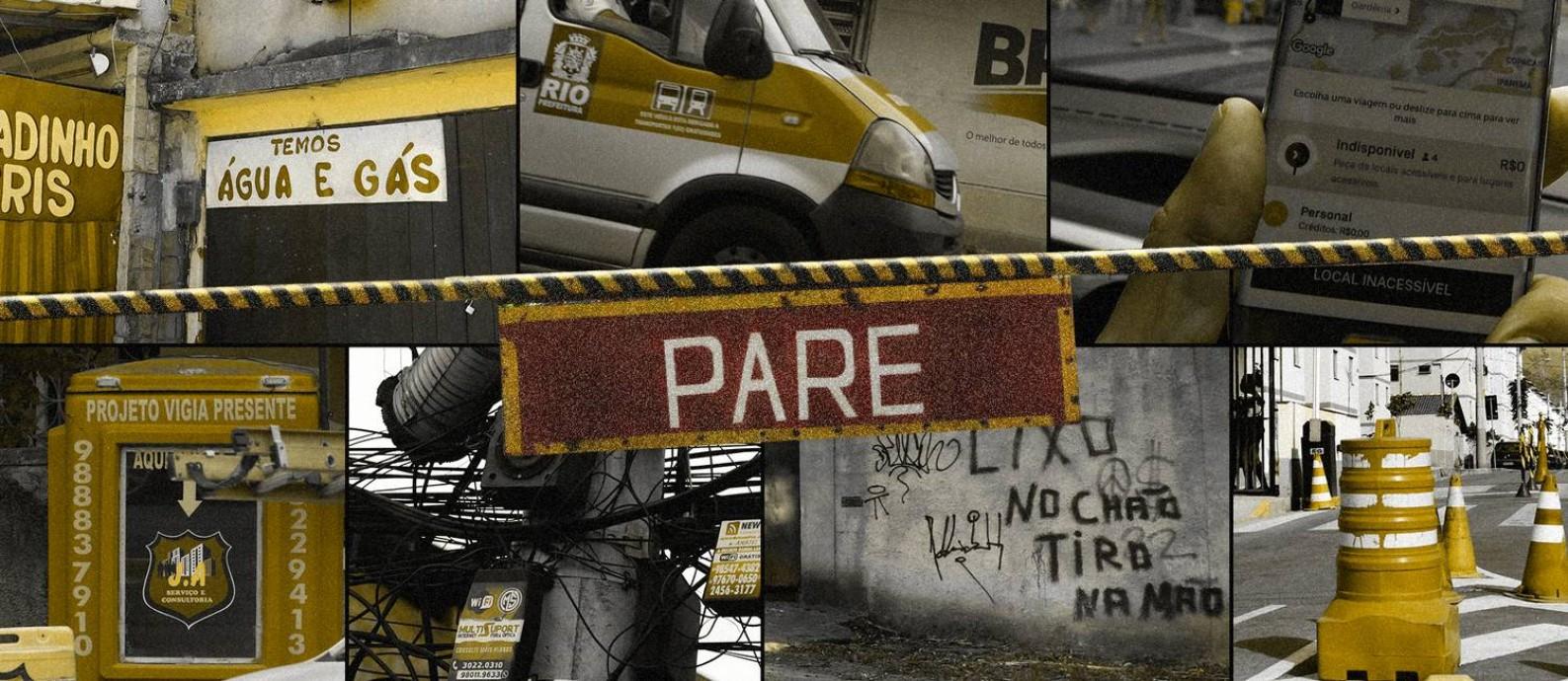 As limitações à circulação no Rio atingem 80% dos bairros Foto: Fotomontagem/Editoria de Arte