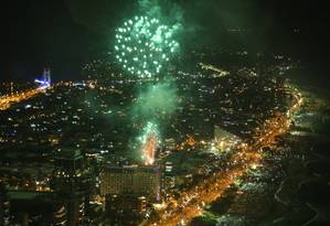 Queima de fogos: iniciativa dos hotéis já virou tradição da Barra Foto: Fernando Maia / Riotur