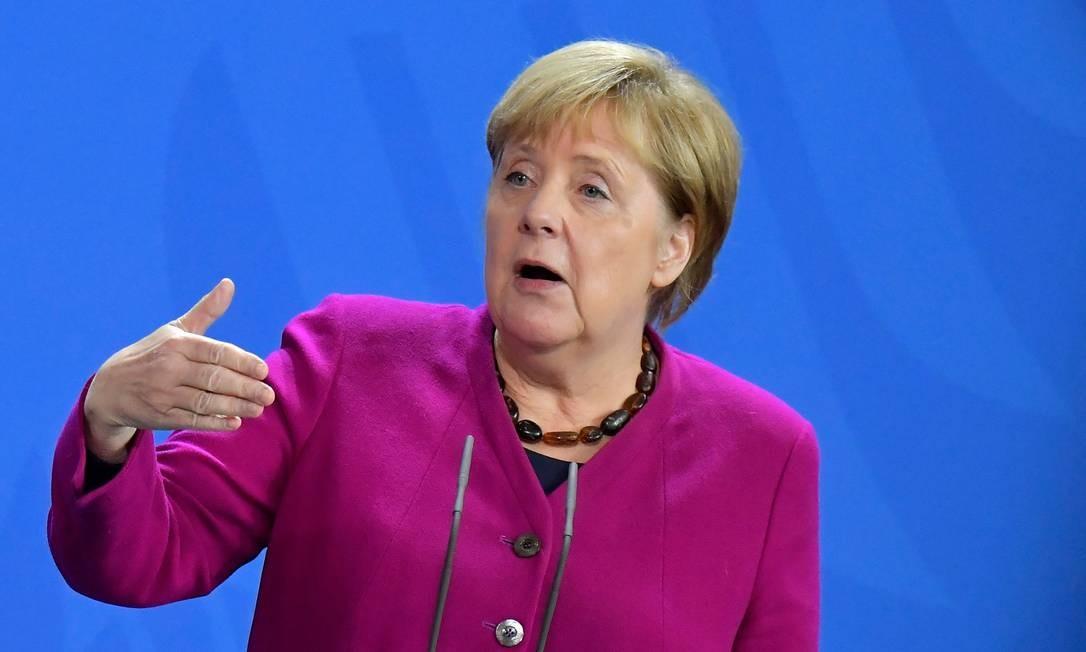 Chanceler federal da Alemanha, Angela Merkel, durante evento em Berlim Foto: TOBIAS SCHWARZ / AFP