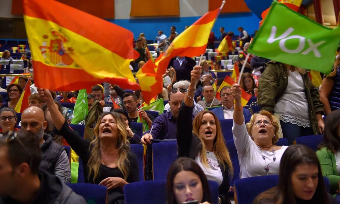 Apoiadores do partido de extrema direita Vox num comício em Santander, Espanha Foto: ANDER GILLENEA / AFP/01-11-2019