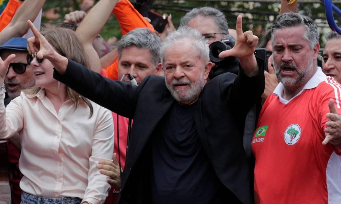 O Ex-presidente Luiz Inácio Lula da Silva durante discurso no Sindicato dos Metalúrgicos em São Bernardo do Campo (SP) Foto: Nacho Doce / Reuters