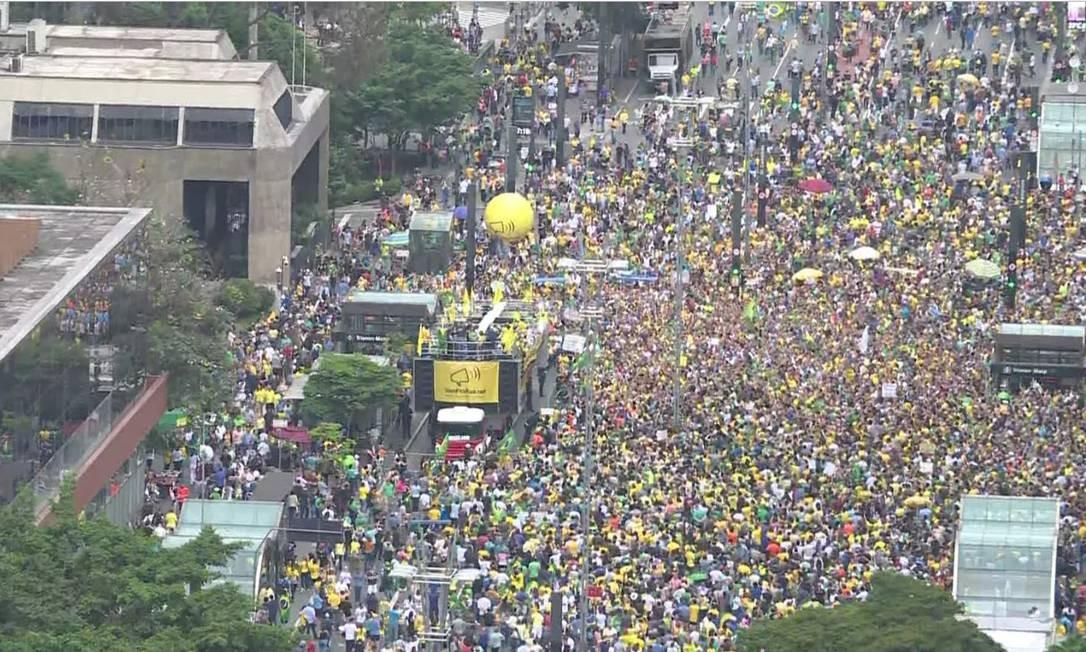 Ato na Avenida Paulista a favor da PEC da segunda instância Foto: Reprodução/Globonews