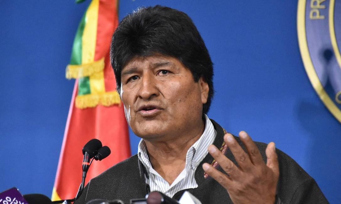 Presidente da Bolívia, Evo Morales, em entrevista à imprensa Foto: HO / AFP/9-11-2019