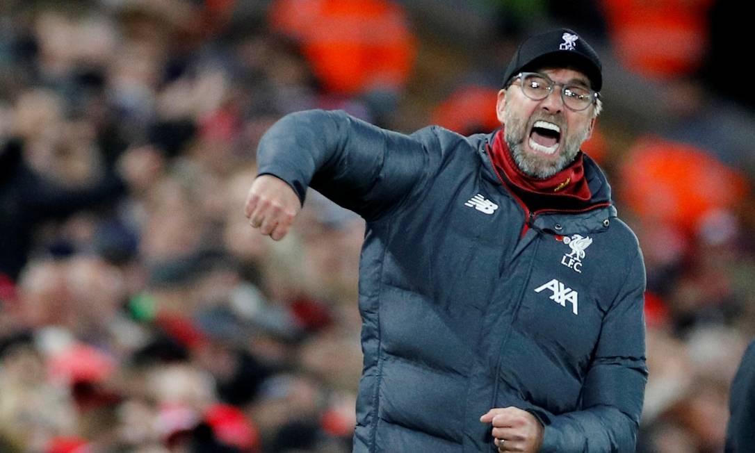 Jürgen Klopp comemora a vitória sobre o City Foto: PHIL NOBLE / REUTERS