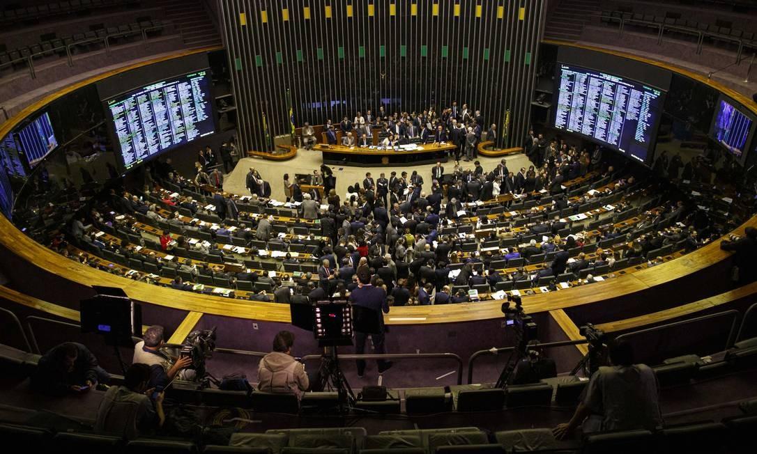 Plenário da Câmara dos Deputados, em Brasília, durante votação da reforma da Previdência Foto: Daniel Marenco / Agência O Globo