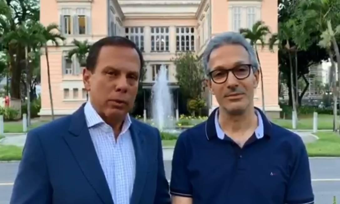 Os governadores João Doria e Romeu Zema se manifestam a favor da prisão em segunda instância Foto: Reprodução