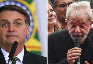 O presidente Jair Bolsonaro e o ex-presidente Lula: rivalidade política Foto: Sergio Lima e Nelson Almeida/AFP