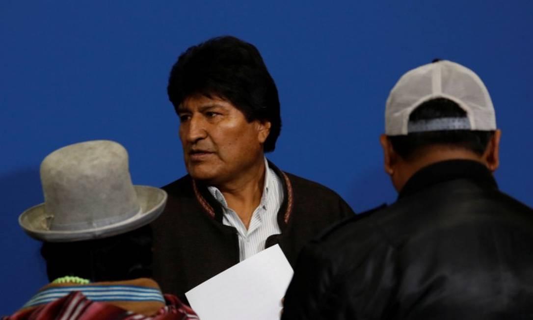 Evo Morales após pronunciamento em El Alto, na Bolivia Foto: CARLOS GARCIA RAWLINS / REUTERS / 10-11-2019