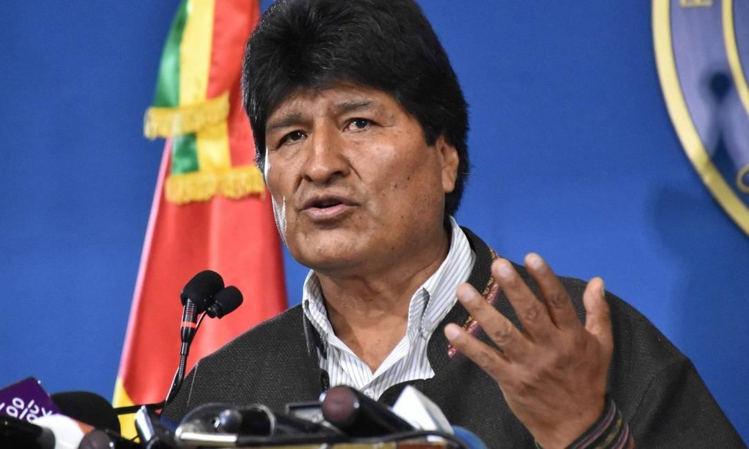 Morales durante entrevista coletiva no dia 9, em El Alto: renúncia e pedido de asilo ao México Foto: HO / AFP