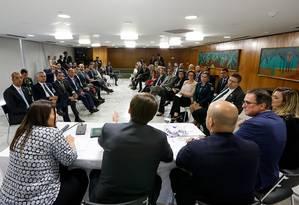 Bolsonaro re reúne com deputados para anunciar saída do PSL Foto: Divulgação