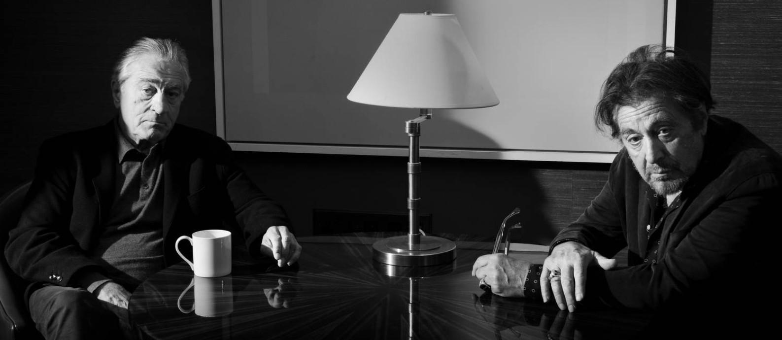 Robert De Niro e Al Pacino em Londres. Atores estão juntos em 'O irlandês', de Scorsese Foto: PHILIP MONTGOMERY / NYT