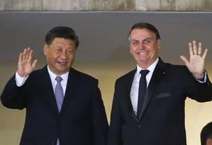 Os presidentes Jair Bolsonaro e Xi Jinping: reunião em Brasília. Foto: SERGIO LIMA / AFP