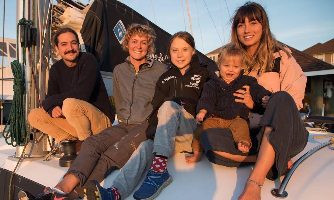 Greta iniciou viagem com australianos que deram carona em catamarã de 28 pés no dia 13 de novembro Foto: Reprodução/Twitter