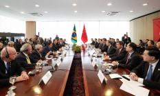 Reunião de Jair Bolsonaro e integrantes do governo com do presidente da China, Xi Jiping Foto: Alan Santos/PR Foto: Alan Santos/Presidência