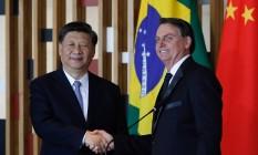 Xi Jinping e Bolsonaro em Brasília. Foto: SERGIO LIMA / AFP
