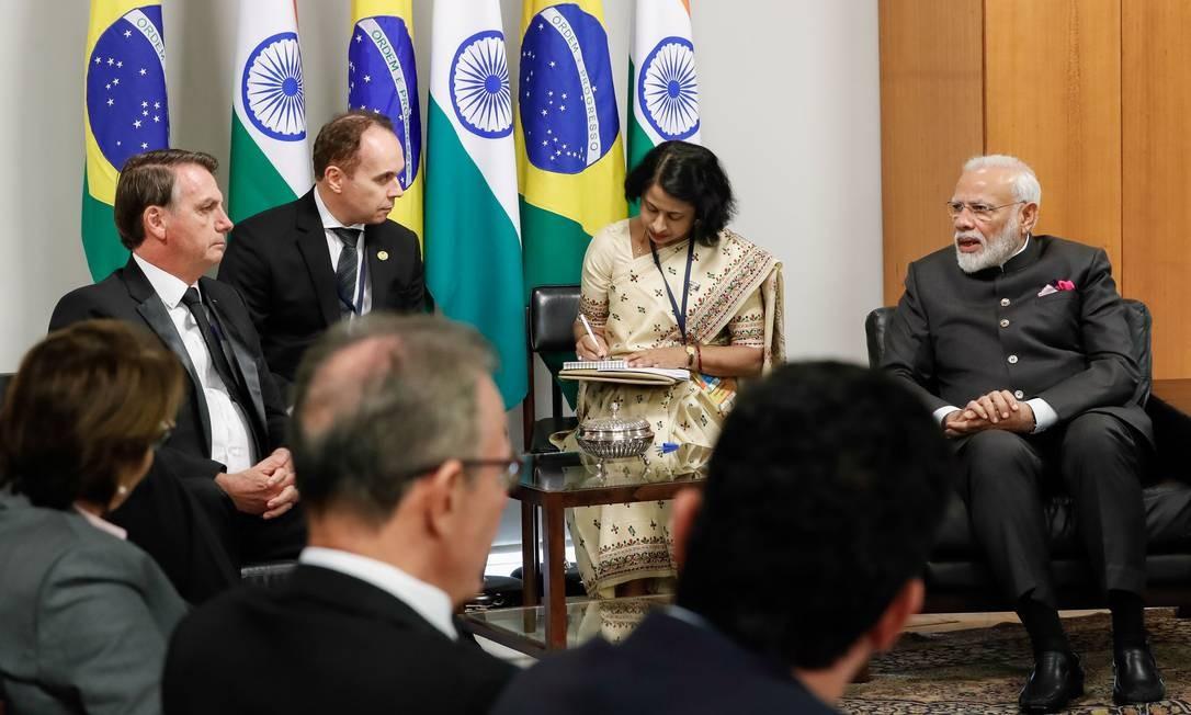 Reunião bilateral entre o presidente brasileiro, Jair Bolsonaro, e o primeiro-ministro indiano, Narendra Modi, no Itamaraty. Modi ressaltou seu interesse em aprimorar a cooperação com o Brasil, sobretudo nos setores de processamento de alimentos e na agropecuária Foto: ISAC NOBREGA / AFP