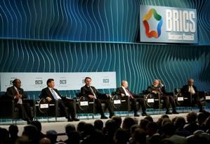 Presidente da África do Sul, Cyril Ramaphosa; presidente da China, Xi Jinping; presidente do Brasil, Jair Bolsonaro; presidente da Rússia, Vladimir Putin; e primeiro-ministro da Índia, Narendra Modi, na cúpula do Brics, em Brasília Foto: UESLEI MARCELINO / REUTERS