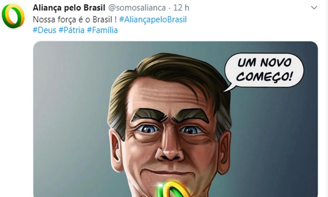 Tuíte do perfil 'Aliança pelo Brasil' Foto: Reprodução