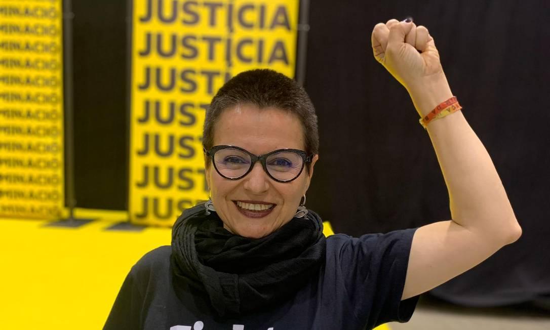 Maria Dantas, primeira brasileira a ser eleita deputada na Espanha pelo partido Esquerda Republicana: #StopVOX é a campanha da Unitat Contra el Feixisme i el Racisme (UCFR) Foto: Divulgação/Mariana Correa