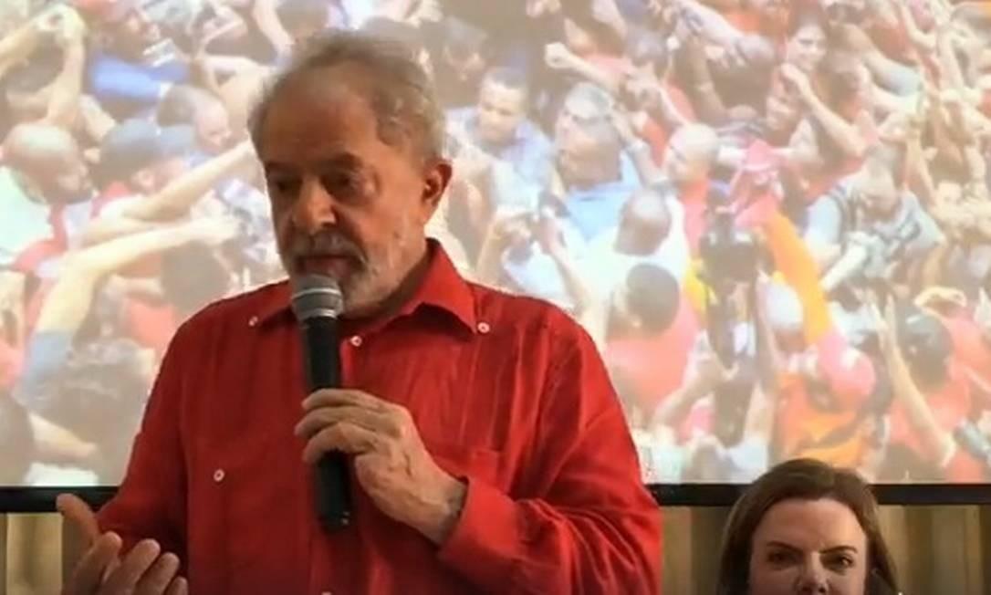 O ex-presidente Lula em reunião da Executiva Nacional do PT na semana passada Foto: Reprodução