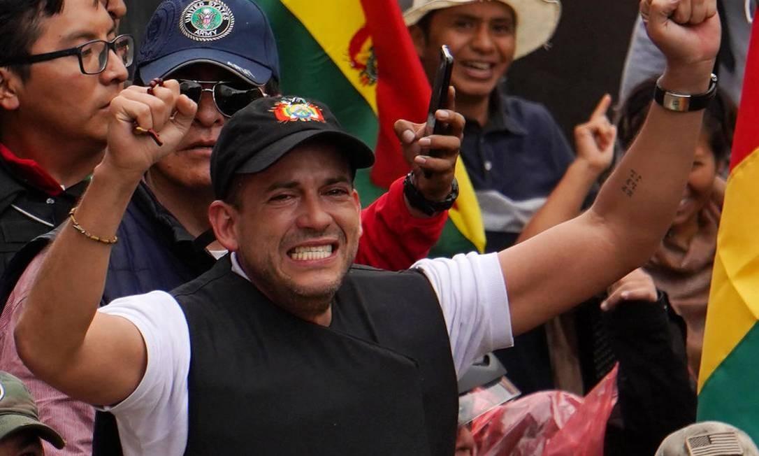Luis Fernando Camacho, liderança da oposição, ajudou a articular mobilização que resultou na saída de Evo Morales Foto: Javier Mamani / Getty Images