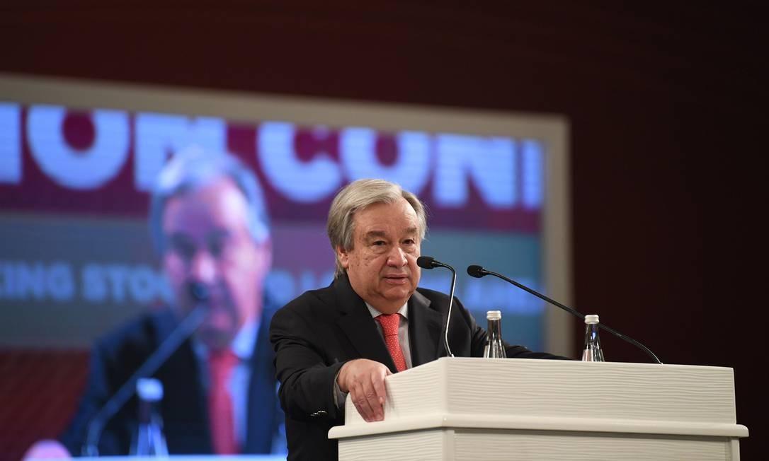 Secretário-geral das Nações Unidas, António Guterres, durante encontro na Turquia Foto: BULENT KILIC / AFP/31-10-2019