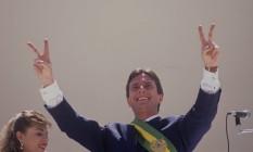 Brasília (DF) 15/03/1990 - Fernando Collor de Mello (Presidente da República) - Posse em Brasília do Presidente Fernando Collor - Foto Marcelo Carnaval / Agência O Globo - Cromo nº 90-2367-G Foto:  /