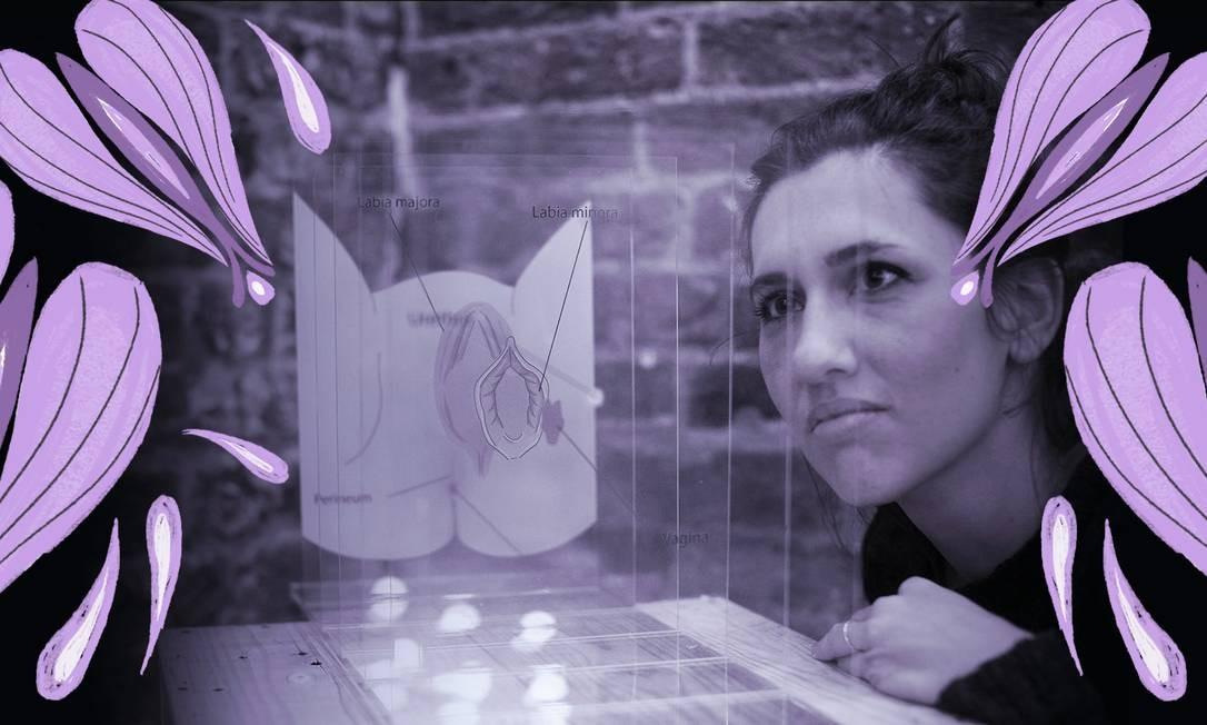 Visitante observa representação da vulva durante prévia para a imprensa no Museu da Vagina, em Londres, nesta quinta-feira Foto: ISABEL INFANTES / AFP
