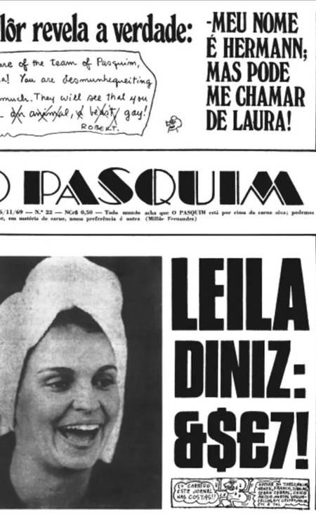 Há 50 anos Leila Diniz era capa do Pasquim. O jornal era submetido à censura prévia e, para evitar problemas com os militares, palavrões foram substituídos por asteriscos – foram 72 no total Foto: