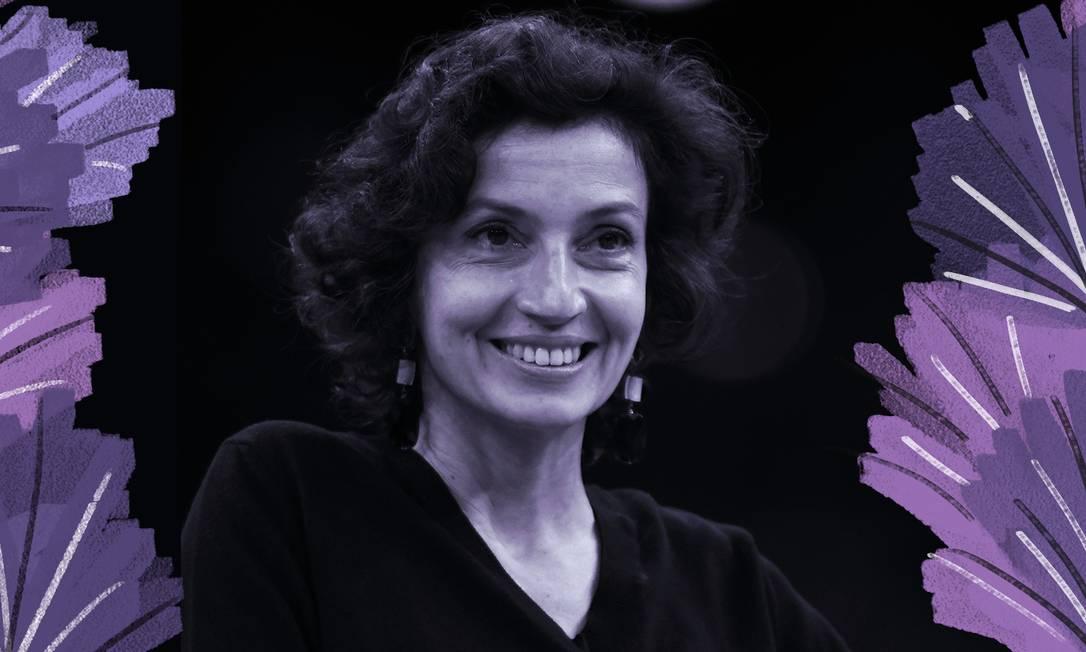 Audrey Azoulay, diretora-geral da Unesco Foto: Arte de Luiz Lopes sobre foto de Artur Widak / NurPhoto